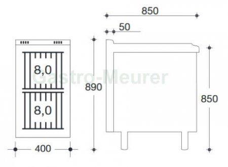eku powerburner gasherd tiefe 850 mm 2 flammig pb 850 gst 2. Black Bedroom Furniture Sets. Home Design Ideas