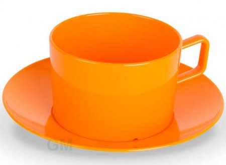 Kinderzeug Tasse 0,2 l + Untertasse 13,5 cm orange Polycarbonat (PC)